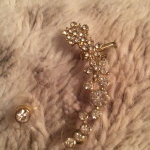 Gold & Diamond Floral Earcuff W/ Matching Earring